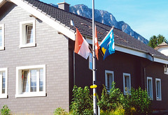 House in front of the Jura Mountain Range