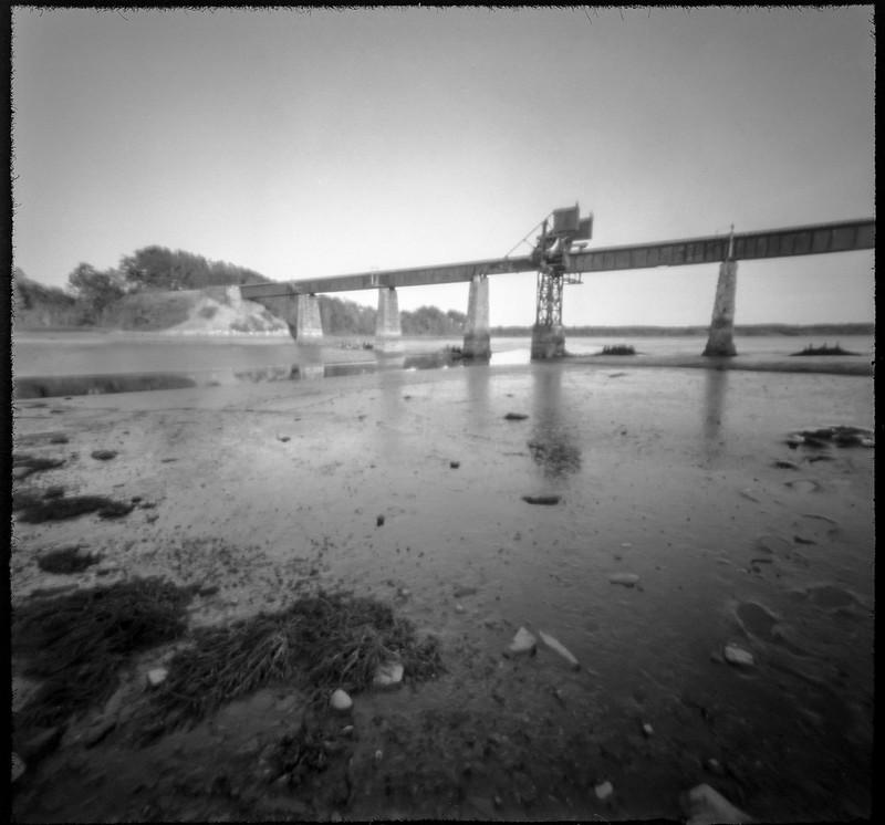 railroad bridge, trestle, low tide, mud flats, Saint George River, Thomaston, Maine, 6x6 pinhole camera, Arista.Edu 200, HC-110 developer, July 2019
