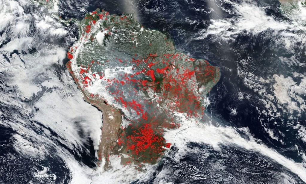 8月20日,南美洲各地發生的野火,其中也包括巴西的雨林。(圖片來源:VIIRS/Suomi NPP/Worldview/NASA)