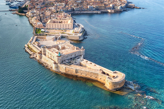 Aerial view of Maniace fortress in Ortigia.