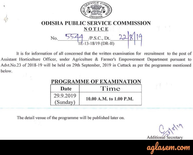 OPSC Assistant Horticulture Officer Admit Card