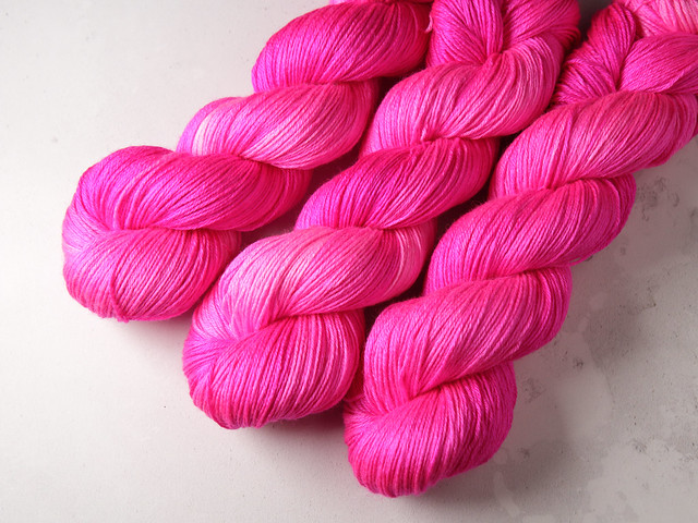 Brilliance 4 Ply  – British Bluefaced Leicester wool and silk hand-dyed yarn 100g – 'Rock Candy' (neon pink)