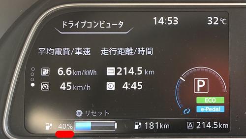 中央道 談合坂SA(上り)到着時 日産リーフ e+(62kWh)メーター エアコンON