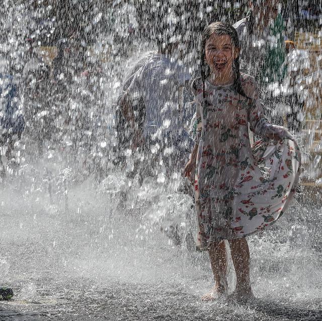 fountain drops keep falling on my head