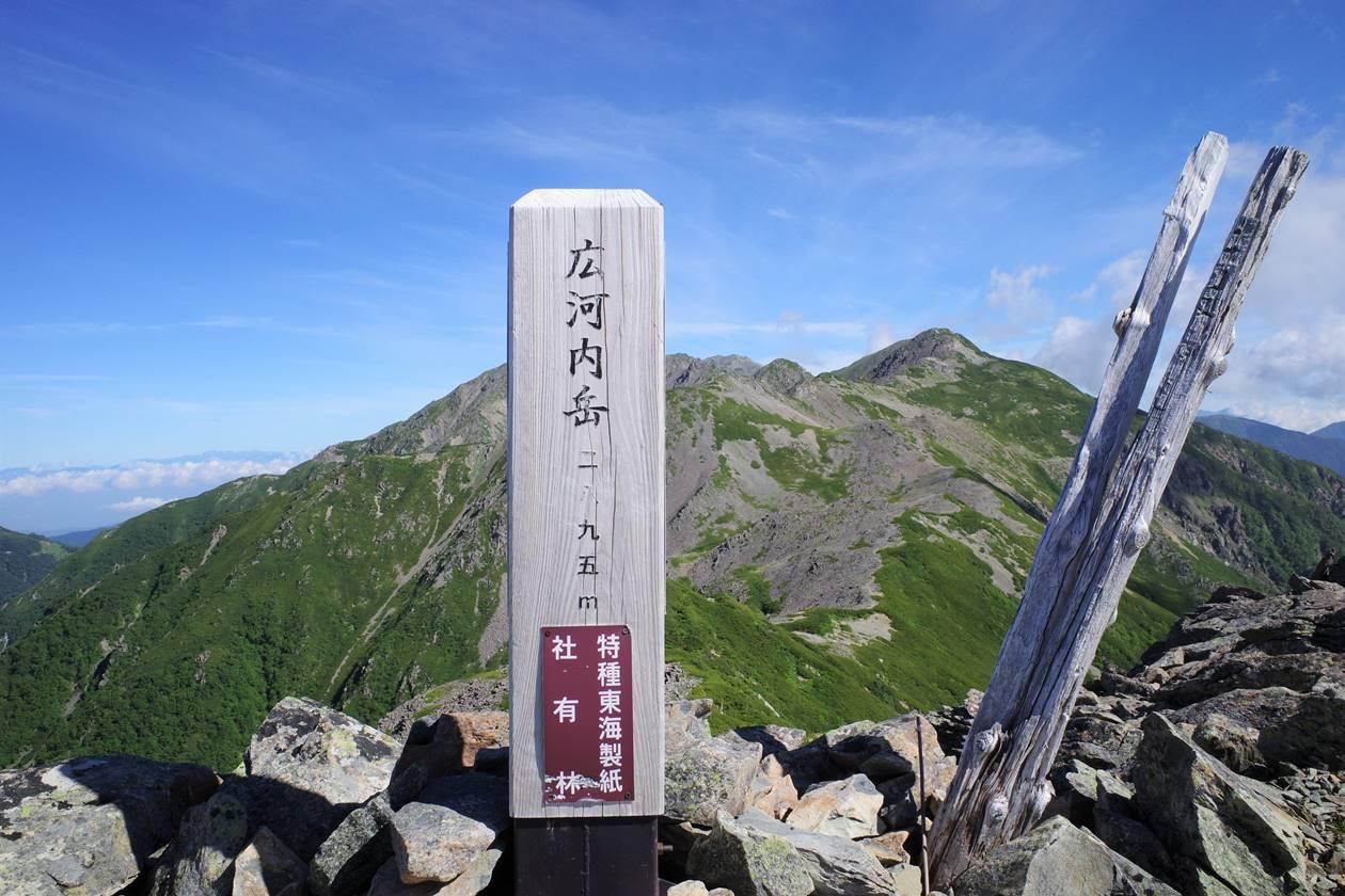 広河内岳山頂標識