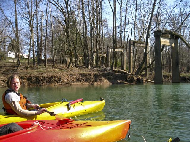Clinton Elmore kayaking, Cane Creek, old Hickory Valley Rd bridge ruins, Van Buren County, Tennessee
