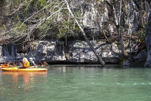Anne Elmore, Alfred Crabtree kayaking, Cane Creek, Van Buren County, Tennessee