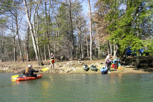 Kayakers at Crusher Hole, Cane Creek, Van Buren County, Tennessee