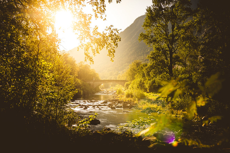 A beautiful evening by the river in Rjukan