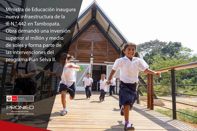 Ministra de Educación inaugura nueva infraestructura de la IE N.° 442 en Tambopata
