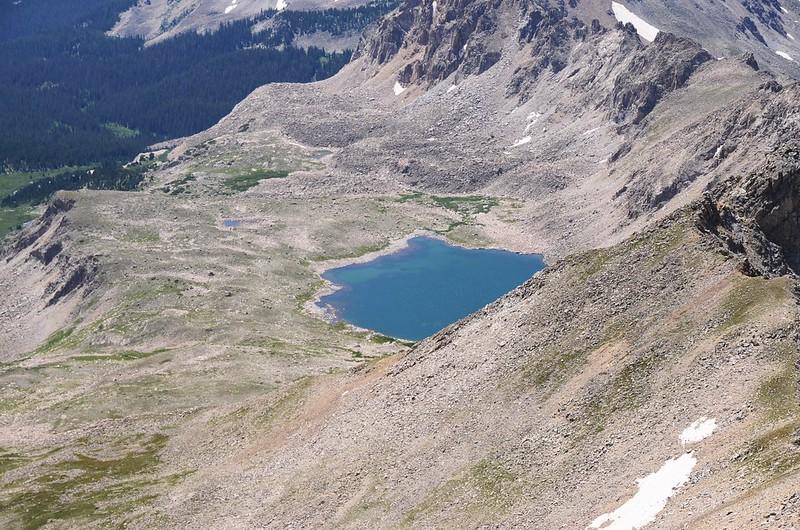 Looking down at Bear Lake from Mount Harvard's summit