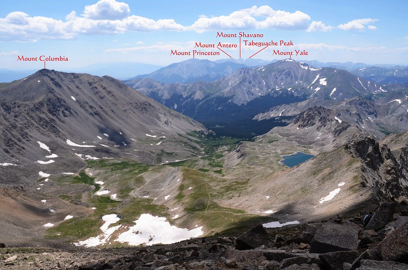 Looking  south at Mount Columbia & Yale from Mt. Harvard Trail below the summit (10)_副本