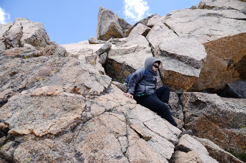 Climbing down from the summit of Mount Harvard (14)