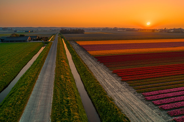 Sunset in the polder.