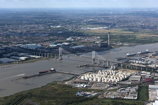 QE2 Bridge over the river Thames at Dartford aerial image