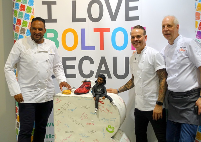Chefs Michael Caines, Simon Woods and Mike Harrison at Bolton Food Festival 2019