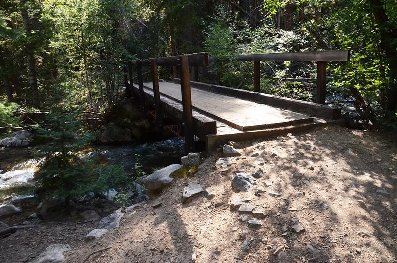 The first footbridge across Cottonwood Creek