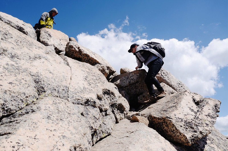 Climbing down from the summit of Mount Harvard (4)