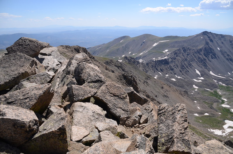 Looking southeast at Harvard--Columbia ridge from Mount Harvard 1