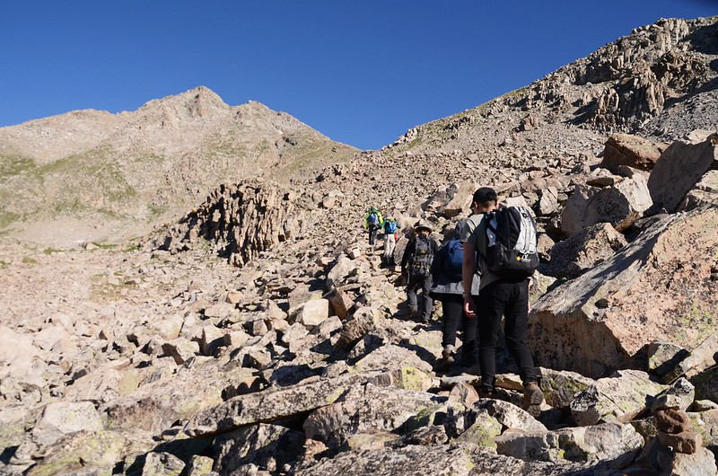The Talus Field located on the south side of the shoulder, which is on the east side of Unnamed Peak 13,598' (8)