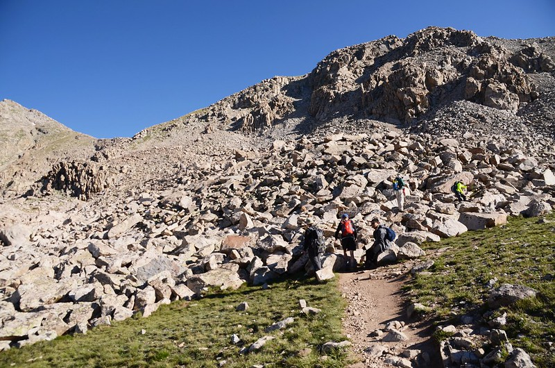 The Talus Field located on the south side of the shoulder, which is on the east side of Unnamed Peak 13,598' (1)