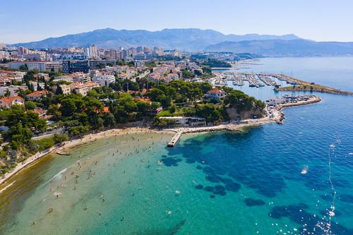Firule Beach with a view to Marina Zenta in Split, Croatia