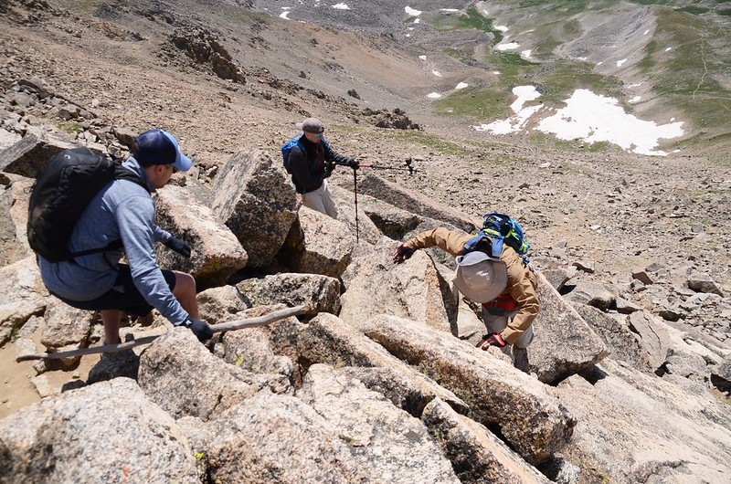 Climbing down from the summit of Mount Harvard (5)