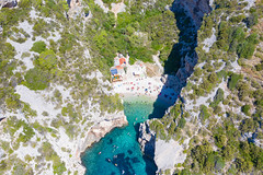 Stiniva Bay on Vis island in Croatia, a view from above