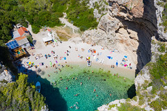 The turquoise waters of the Adriatic Sea at Stiniva Bay on Vis island in Croatia