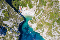 Stiniva Cove on Vis island in Croatia, a view from above