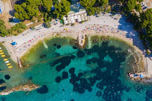 Aerial view of Ovcice beach in Split, Croatia