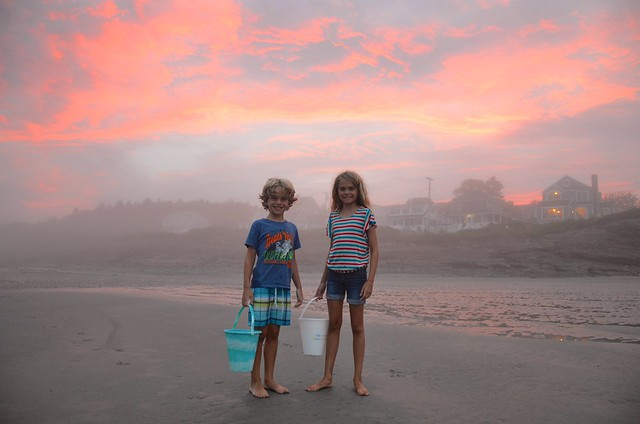 The Kids And A Gorgeous Misty Sunset Over Higgins Beach