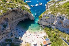 Aerial view of Stiniva Beach on Vis island in Croatia
