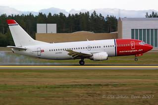 Norwegian B737-3L9 LN-KKU at ENGM/OSL 09-09-2007