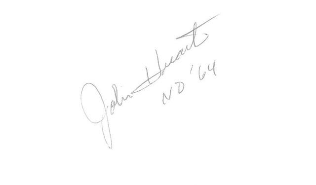 John Huarte autographed index card