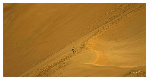 Morning walk on sand dune