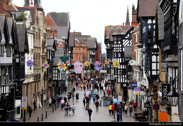 View along Eastgate Street, Chester, UK