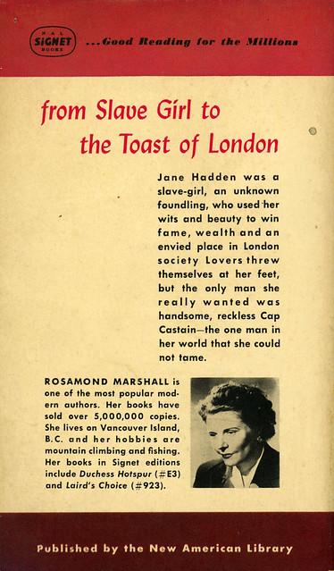 Signet Books 976 - Rosamond Marshall - The Temptress (back)