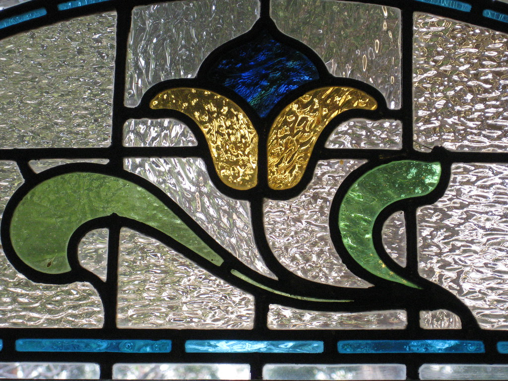 Detail of an Art Nouveau Stained Glass Window in the Best Bedroom of
