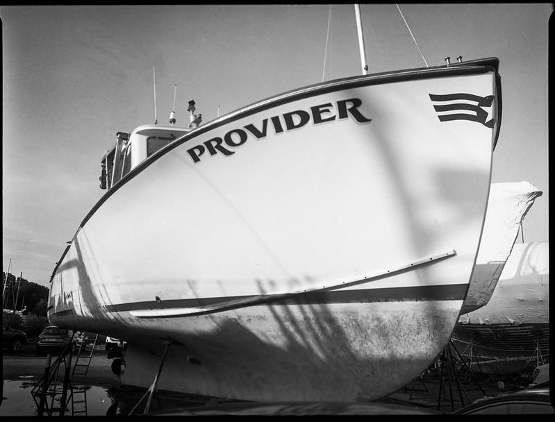 Provider, ship in drydock, cast shadows, Rockland, Maine, Mamiya 645 Pro, mamiya sekor 45mm f/2.8, Kodak TMAX 400, HC-110 developer, 8.20.19