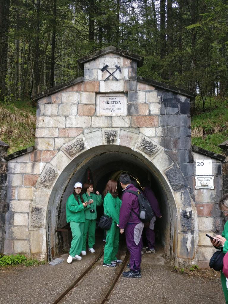 'Miners' sheltering from the rain in the Hallstatt Salt Mine