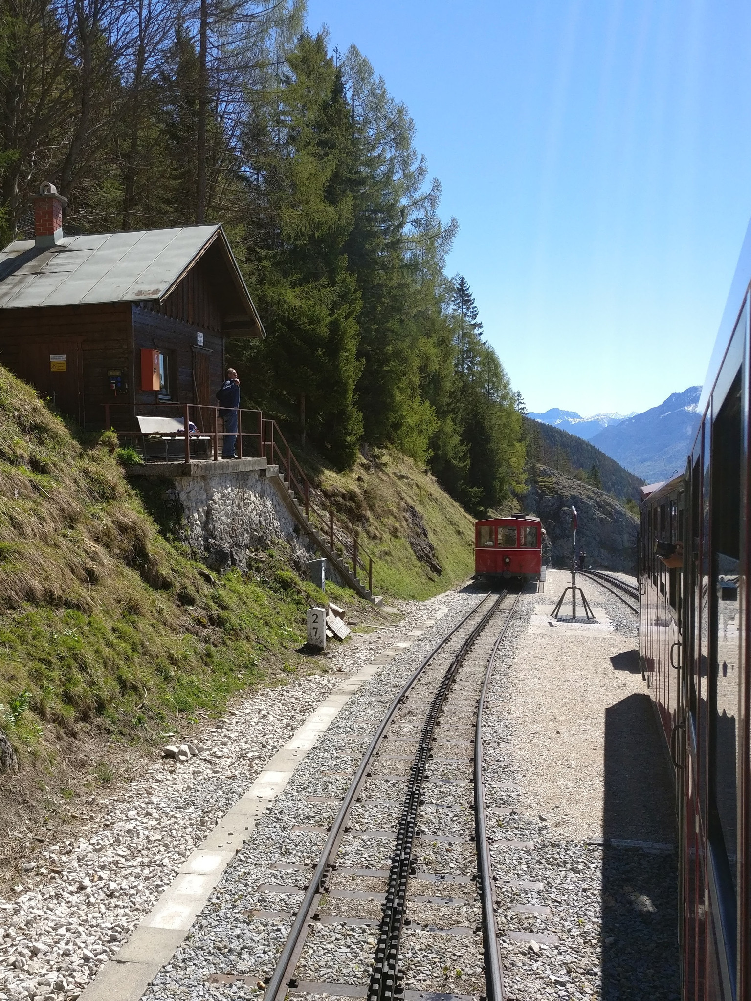 Schafbergbahn trains crossing