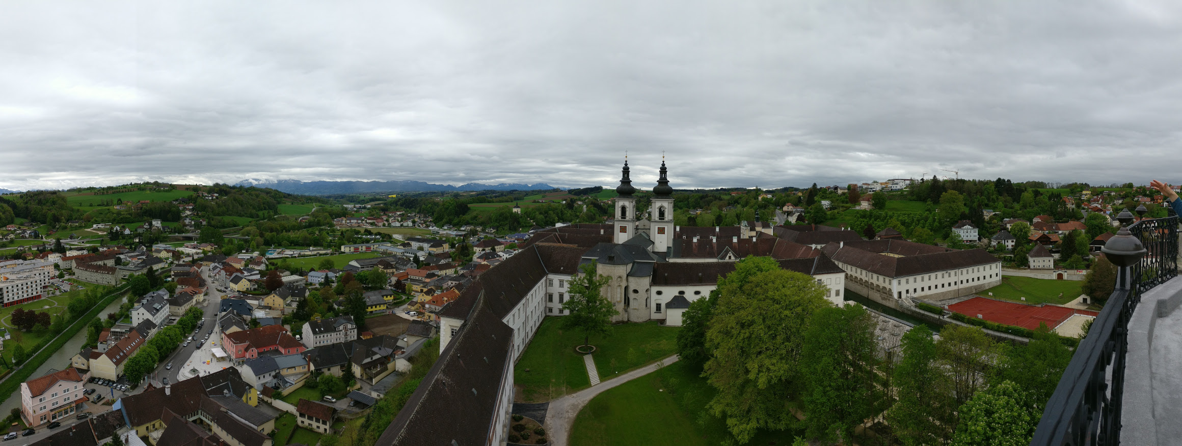 Views from the Mathemical Tower terrace in Kremsmünster Abbey