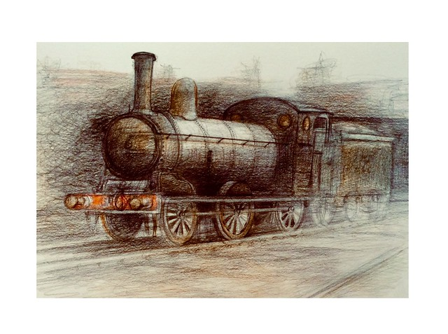 Victorian steam engine. Coloured pencil drawing on white card by jmsw