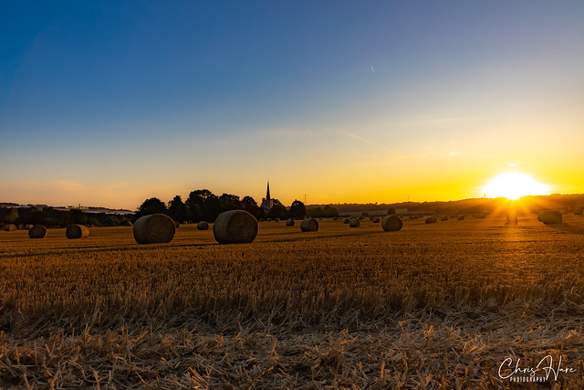 Hay Bales and Sunsets