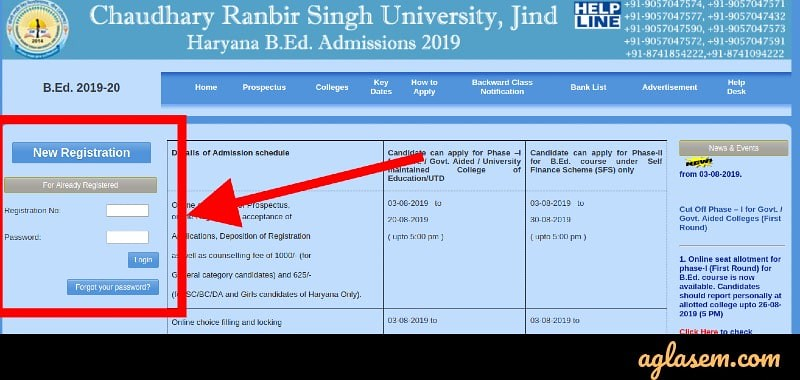 You can make login by using registration number and password