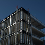 Metal frame of new UCLan building in Preston
