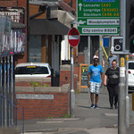 Walking down Blackpool Road at Ashton, Preston