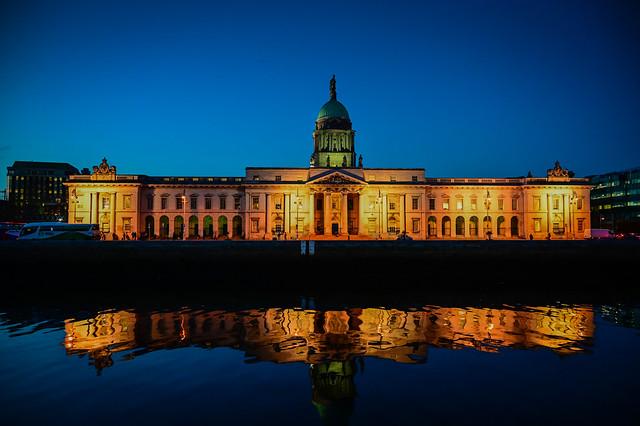 Custom House along the River Liffey at Night - Dublin Ireland