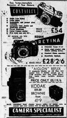 1954 advertisement for store The Camera Specialist - Contaflex, Kodak Retina, Kodak Six-20 Brownie, Aiglon Reflex